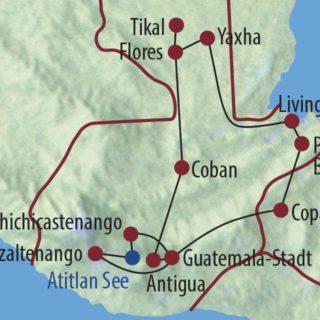 Karte Reise Guatemala Auf den Spuren der Maya 2020