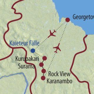 Karte Reise Guyana Auf den Spuren von Jaguar, Kaiman und Ameisenbär 2020