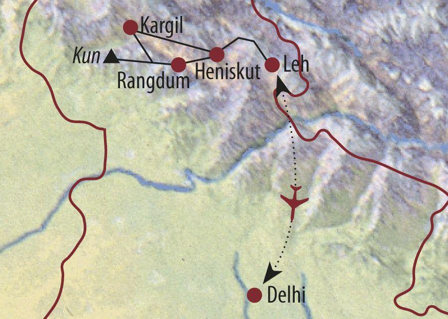Karte Reise Indien | Ladakh Kun (7077m) 2020
