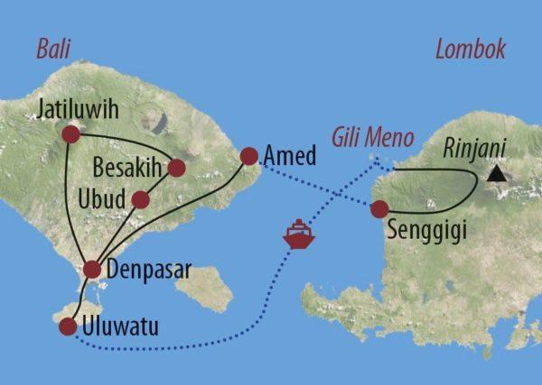 Indonesien | Bali • Lombok • Gili Islands Schätze des Archipels Boot am weißen Sandstrand auf Gili Trawangan zwischen Bali und Lombok Karte