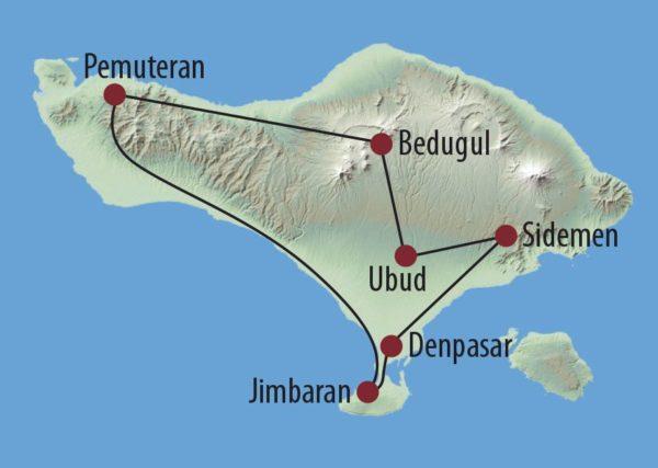 Indonesien | Bali Die Insel der Götter Tempel in Bali Karte
