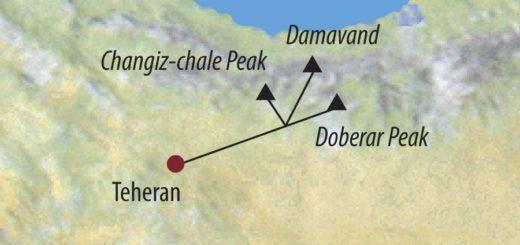 Karte Reise Iran Damavand (5671m) 2020