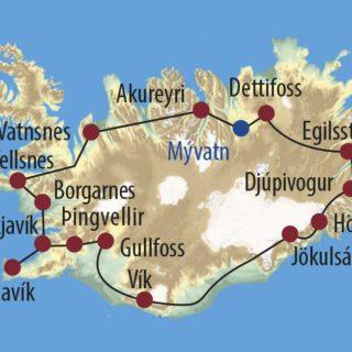 Karte Reise Island Inselumrundung mit Feuer, Erde, Eis und Wasser 2020