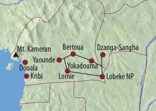 Kamerun • Zentralafrika In die Tiefen des Regenwaldes Dzanga-Sangha-Nationalpark Karte