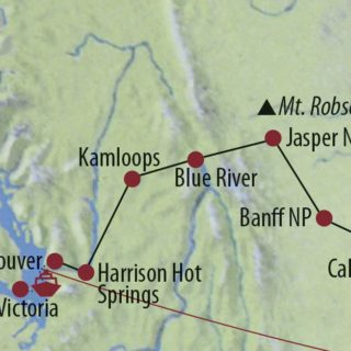 Karte Reise Kanada | Alberta • British Columbia Höhepunkte Westkanadas 2020