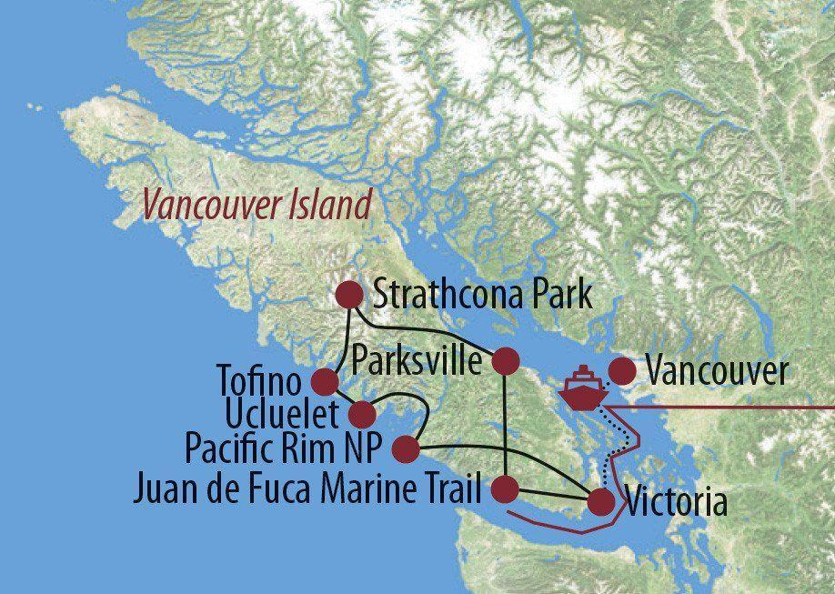 Karte Reise Kanada | British Columbia Der Zauber Vancouver Islands 2020