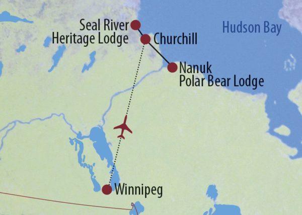 Kanada | Manitoba In der Kinderstube der Eisbären Eisbär direkt an der Seal River Lodge Karte