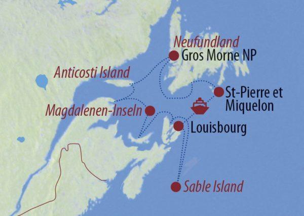 Kanada Wellen, Wale, wilde Pferde Kajakfahrt mit Buckelwal Karte
