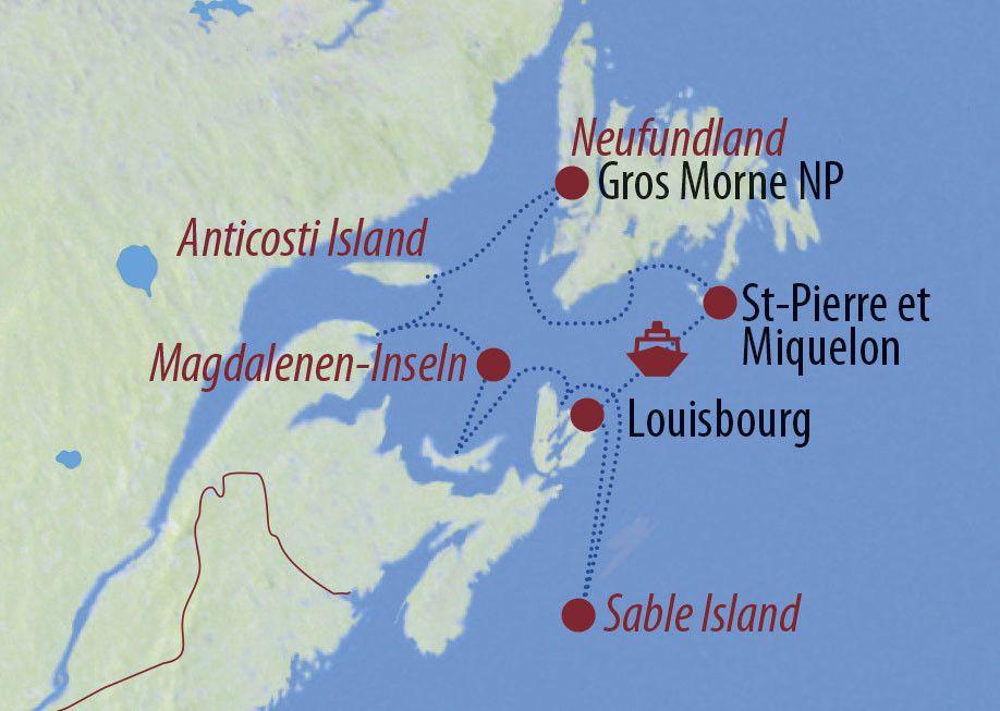 Karte Reise Kanada Wellen, Wale, wilde Pferde 2020