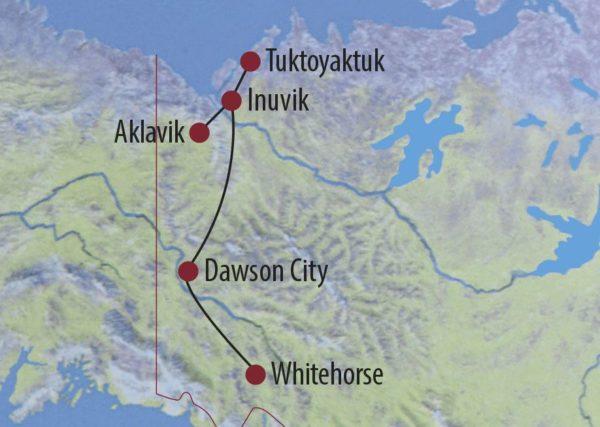 Kanada | Yukon • Northwest Territories Arctic Road Trip – Winterabenteuer im Norden Auf der Eisstraße am zugefrorenen arktischen Ozean Karte