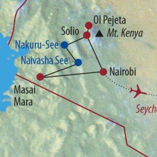 Karte Reise Kenia • Seychellen Out of Africa und Inselparadies 2020