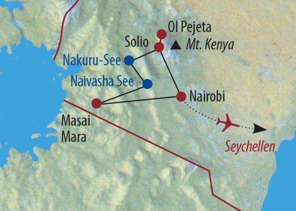 Kenia • Seychellen Out of Africa und Inselparadies Elefanten im Abendlicht im Samburu Reservat Karte