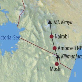 Karte Reise Kenia • Tansania Mount Kenya, Safari und Kilimanjaro 2020
