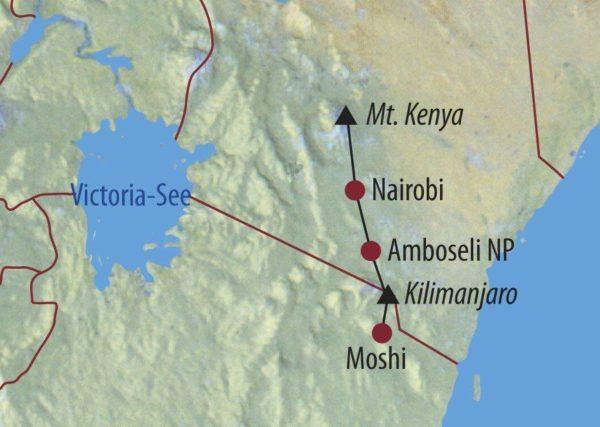 Kenia • Tansania Mount Kenya, Safari und Kilimanjaro Die tägliche Hautpflege ist wichtig Karte