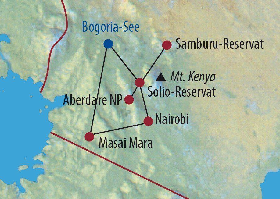 Karte Reise Kenia Auf den Spuren der Big Five 2020