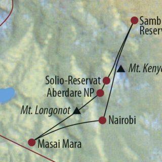Karte Reise Kenia Die Savanne und das Hochland aktiv entdecken 2020