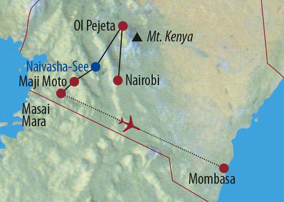 Karte Reise Kenia Familienabenteuer im Land der Massai 2020