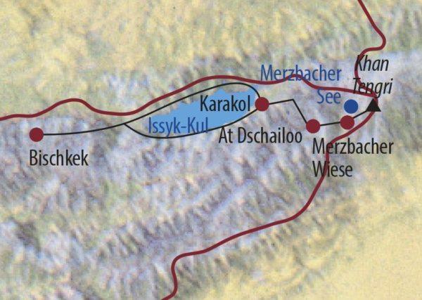 Kirgistan | Tienschan Khan Tengri (7010m) Trekker im Tienschan Karte