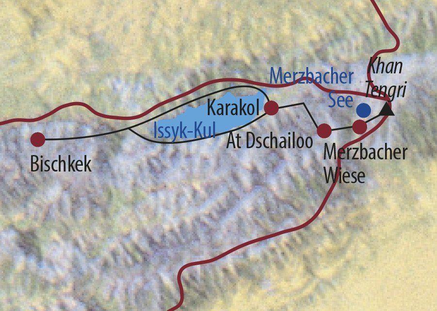 Karte Reise Kirgistan | Tienschan Khan Tengri (7010m) 2020