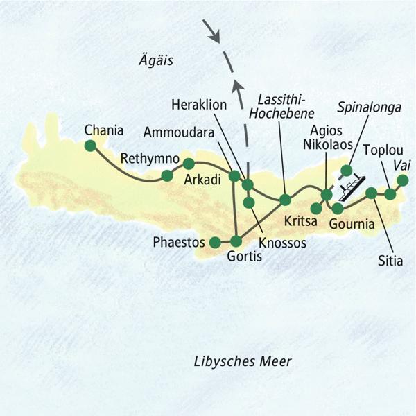 Die bekanntesten Sehenswürdigkeiten Kretas von nur zwei Standorten aus