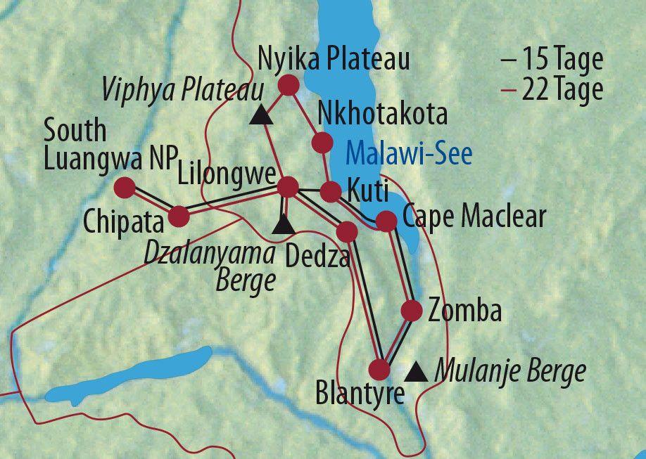 Karte Reise Malawi • Sambia Tiere, Baden, Teeplantagen 2020