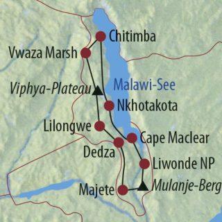 Karte Reise Malawi Unterwegs im warmen Herzen Afrikas 2020