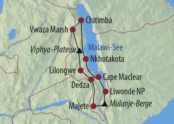 Malawi Unterwegs im warmen Herzen Afrikas Kaya Mawa Safari Lodge, Malawisee Karte