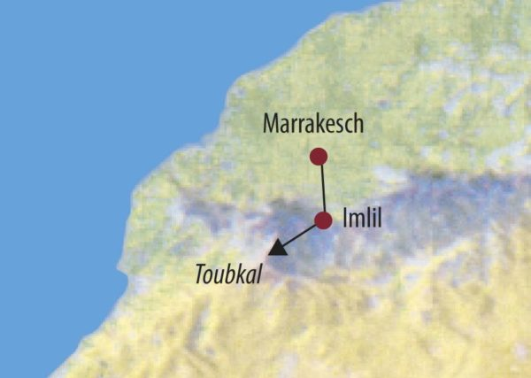 Marokko | Hoher Atlas Jebel Toubkal (4167m) An den langen Flanken des Jebel Toubkal empor. Karte