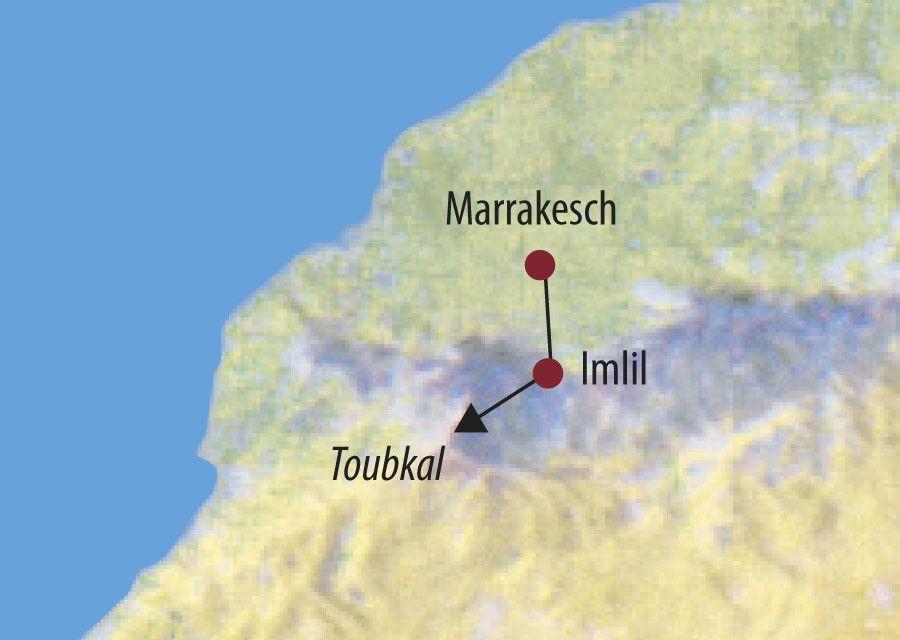 Karte Reise Marokko | Hoher Atlas Jebel Toubkal (4167m) 2020