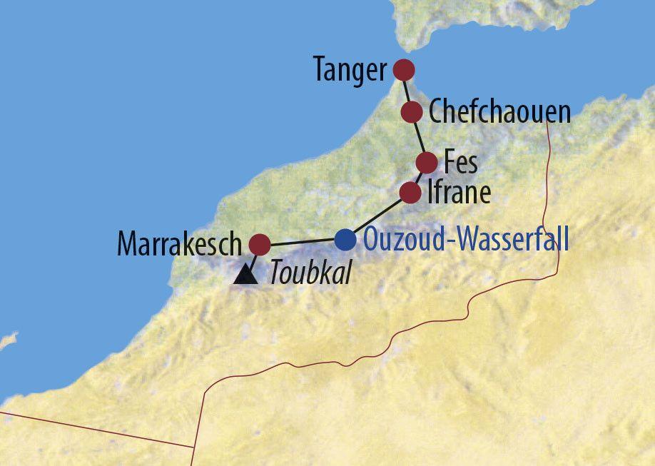 Karte Reise Marokko Kultur und Toubkal-Trekking 2020