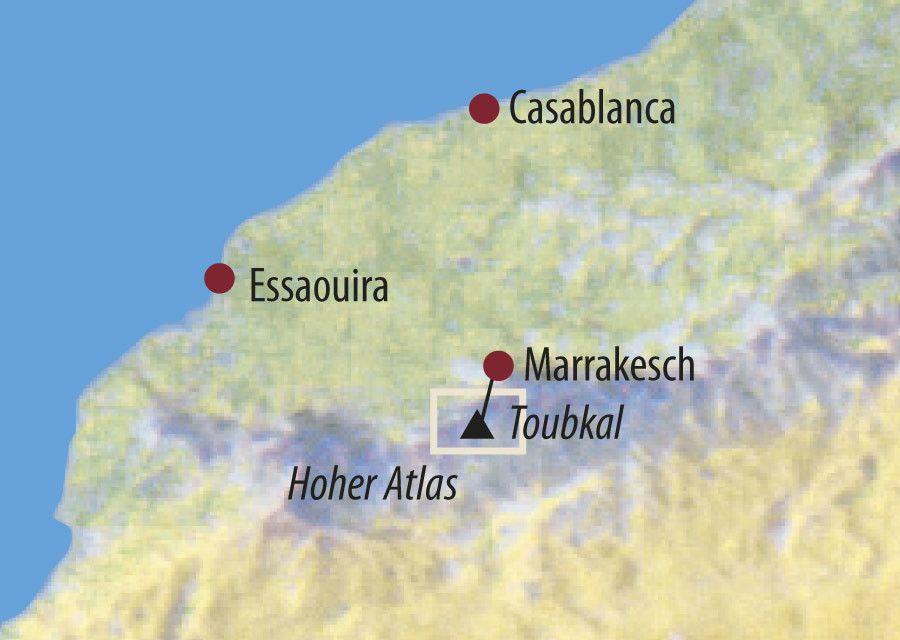 Karte Reise Marokko Toubkal-Trekking und Marrakesch 2020