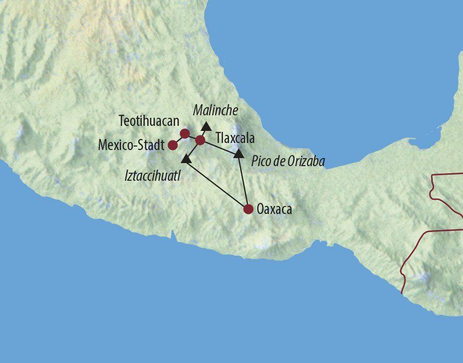 Karte Reise Mexiko Arriba Mexiko! Malinche (4461m), Iztaccihuatl (5286m) und Orizaba (5640m) 2020