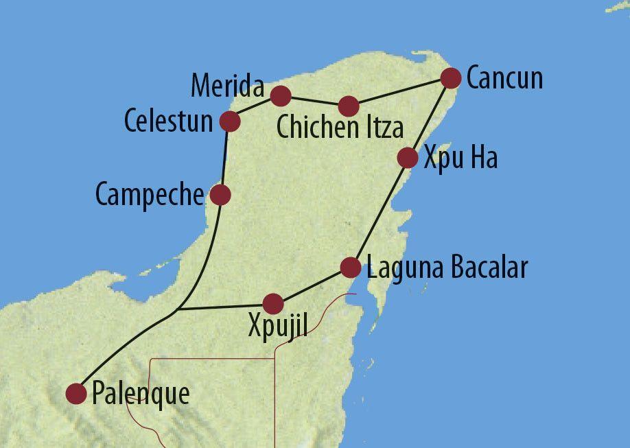 Karte Reise Mexiko Verborgene Schätze im Land der Maya 2020