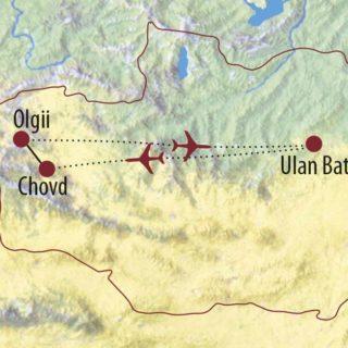 Karte Reise Mongolei Auf den Spuren von Adlerjägern und Schneeleopard 2020