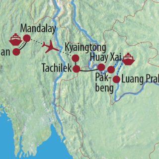Karte Reise Myanmar • Thailand • Laos Drei Länder, drei Abenteuer im Goldenen Dreieck 2020