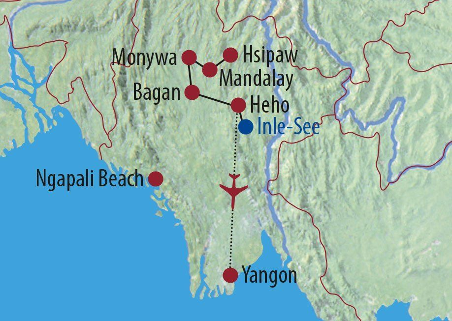 Karte Reise Myanmar Land der goldenen Pagoden 2020