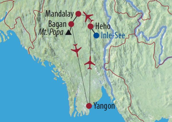 Myanmar Magische Momente zwischen kolonialem Flair und buddhistischer Schönheit Einbeinruderer auf dem Inle-See Karte
