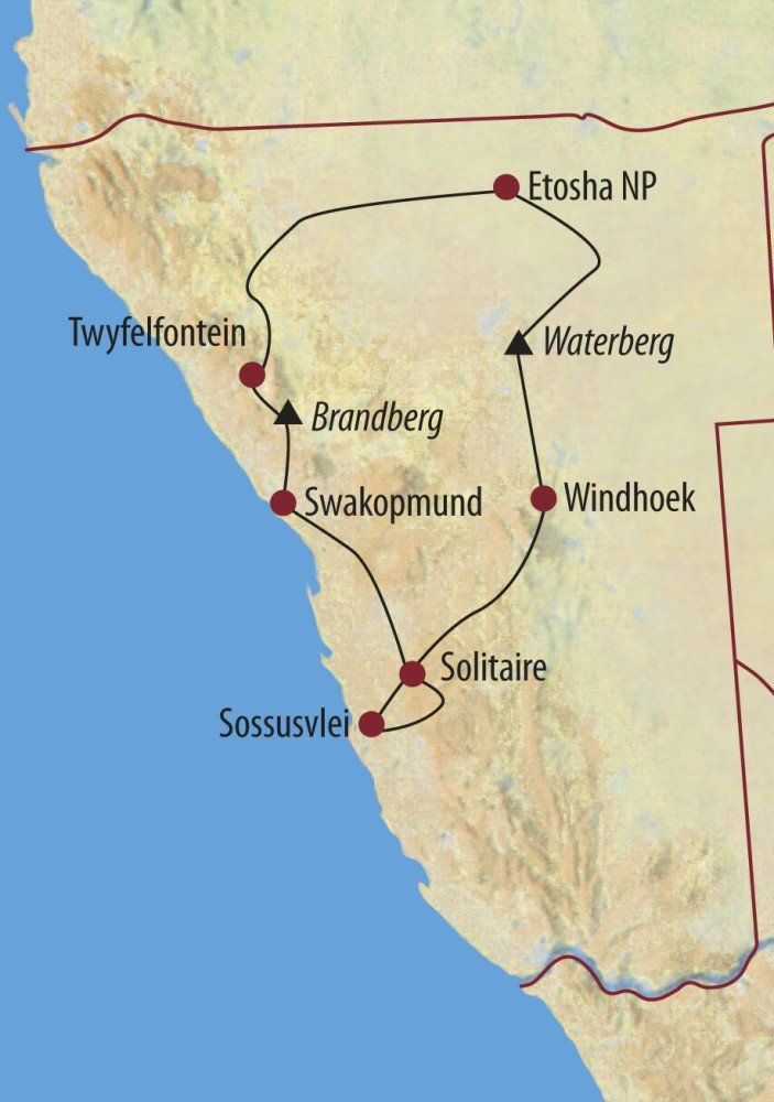 Karte Reise Namibia Abenteuer Namibia 2020