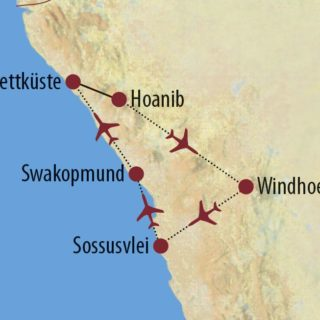 Karte Reise Namibia Namibia – Skelettküste Spezial 2020