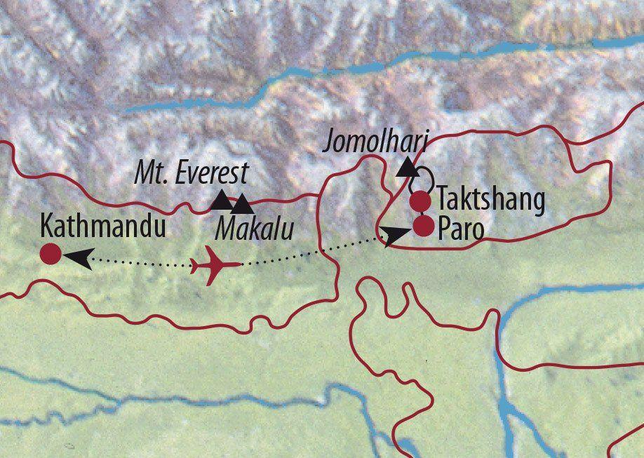 Karte Reise Nepal • Bhutan Jomolhari-Trekking 2020