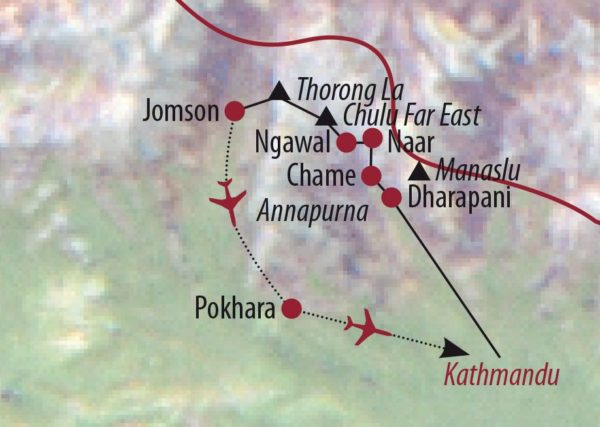 Nepal Chulu Far East (6059m) Abstieg Kang-La-Pass Karte