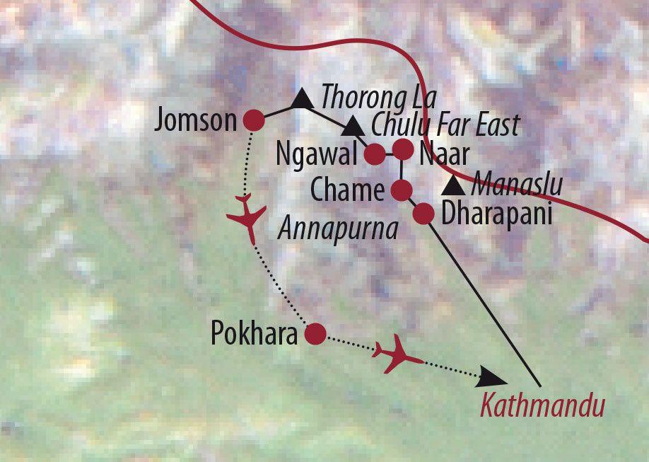Karte Reise Nepal Chulu Far East (6059m) 2020
