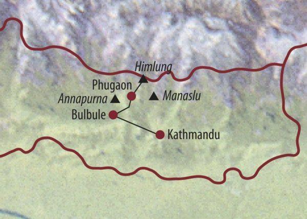 Nepal Himlung (7126m) Aufstieg am Himlung mit Blick auf den Dhaulagiri. Karte