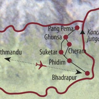 Karte Reise Nepal Kanchenjunga-Basislager 2020