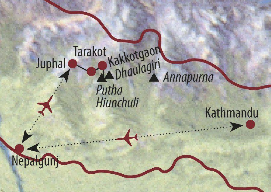 Karte Reise Nepal Putha Hiunchuli (7246m) 2020