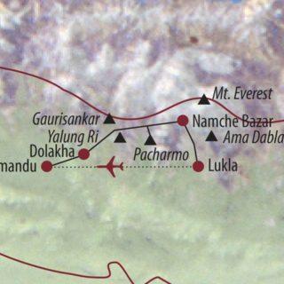 Karte Reise Nepal Yalung Ri (5630m) und Parchamo Peak (6273m) 2020