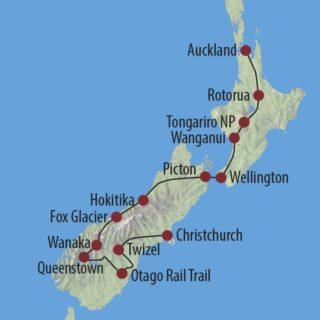 Karte Reise Neuseeland Rangi – Fahrradtour durch Neuseeland 2020