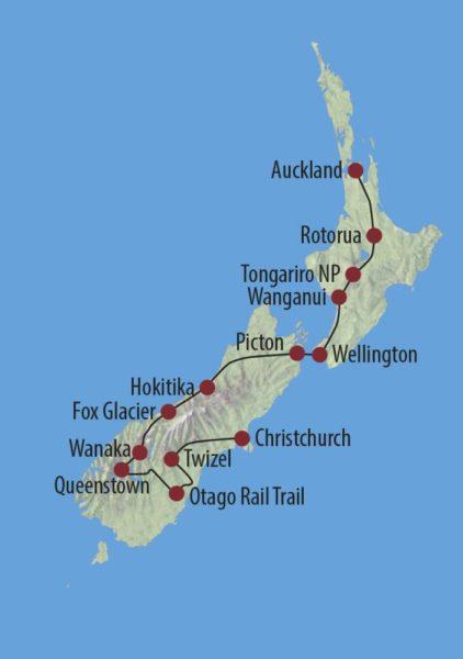 Neuseeland Rangi – Fahrradtour durch Neuseeland Otago Rail Trail Karte
