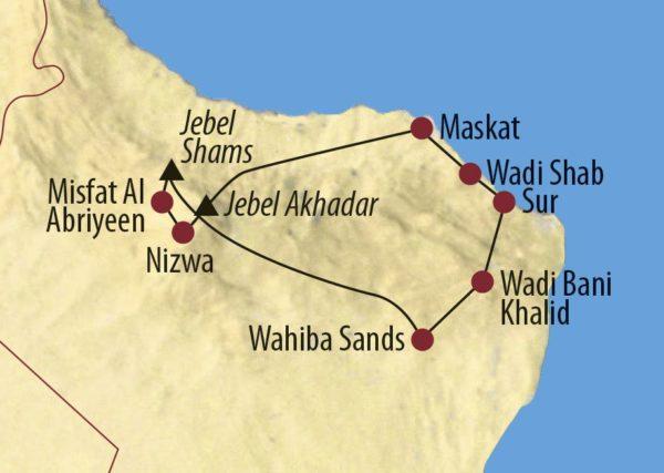 Oman Vom Arabischen Meer zum Jebel Shams Plausch unter Omanis Karte