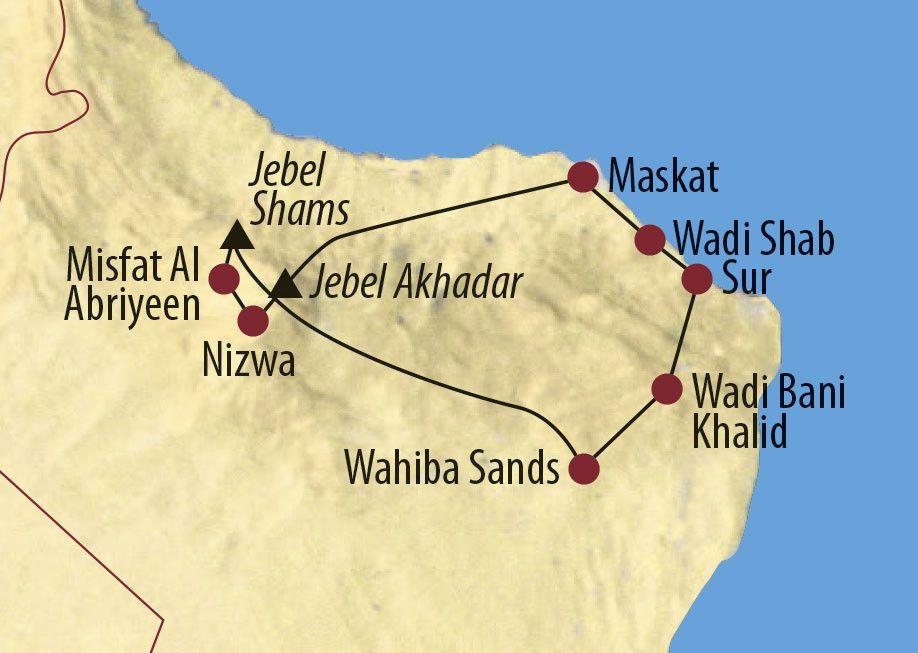 Karte Reise Oman Vom Arabischen Meer zum Jebel Shams 2020